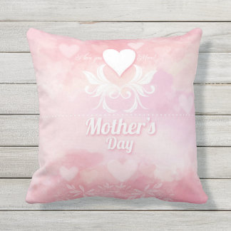 Soft Pink and White Mother's Day Throw Pillow