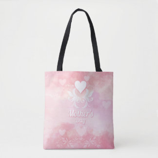 Soft Pink and White Mother's Day Tote Bag