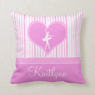 Soft Pink and White Stripes w/ Polka Dots Dancer Throw Pillow