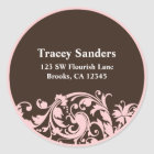Soft Pink & Brown Swirl Custom Address Label