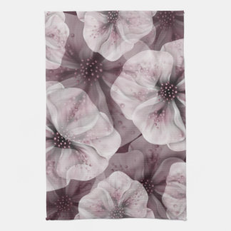 Soft Pink Burgundy Flowers Kitchen Towel