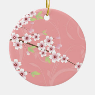 Soft Pink Cherry Blossom Ceramic Ornament