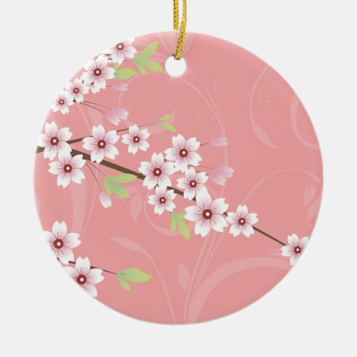 Soft Pink Cherry Blossom Double-Sided Ceramic Round Christmas Ornament