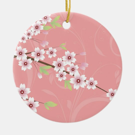 Soft Pink Cherry Blossom Round Ceramic Ornament