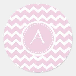 Soft Pink Chevron Retro Style Monogram Pattern Classic Round Sticker