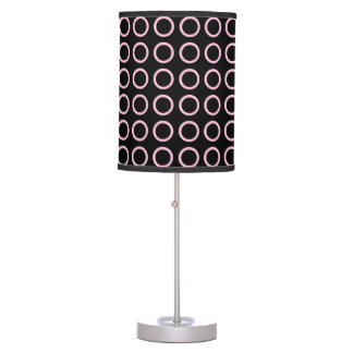 Soft Pink Circles Black Table Lamp