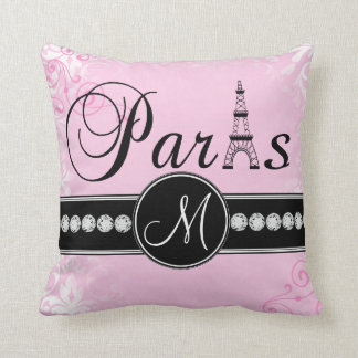 Soft Pink Damask Black Paris Monogram Pillow