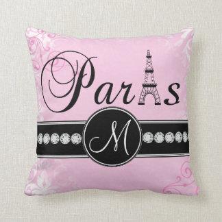 Soft Pink Damask Black Paris Monogram Pillow