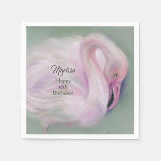 Soft Pink Flamingo Pastel Custom Party Disposable Napkins