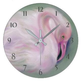 Soft Pink Flamingo Pastel Large Clock
