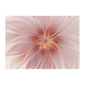 Soft Pink Floral Dream Abstract Modern Flower Acrylic Print