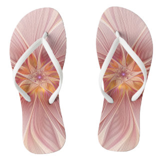Soft Pink Floral Dream Abstract Modern Flower Flip Flops