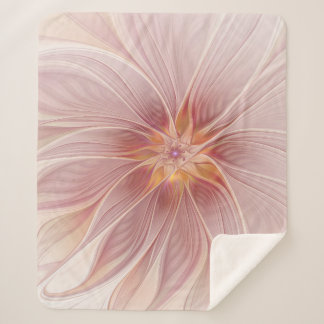 Soft Pink Floral Dream Abstract Modern Flower Sherpa Blanket
