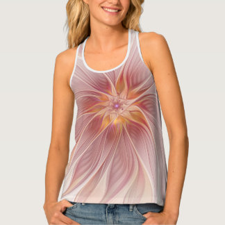 Soft Pink Floral Dream Abstract Modern Flower Tank Top