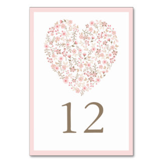 Soft Pink Floral Heart Wedding Table Number Card