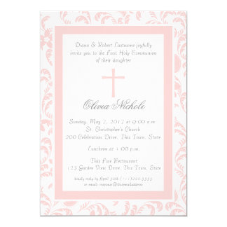 Soft Pink Floral Paisley First Communion Card