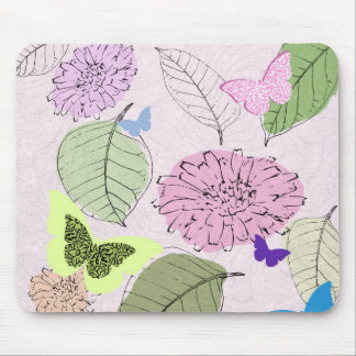 soft pink flowers and butterflies mouse pad