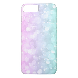 Soft Pink & Green Bokeh Faux Glitter iPhone 8 Plus/7 Plus Case