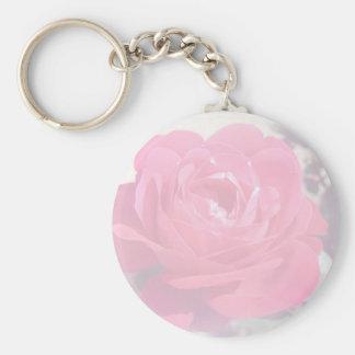 Soft Pink Haze Rose Basic Round Button Keychain