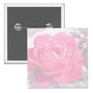 Soft Pink Haze Rose Pinback Buttons