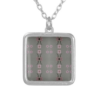 Soft Pink Pattern Gray Background Silver Plated Necklace