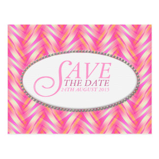Soft Pink Pattern Save the Date Postcard