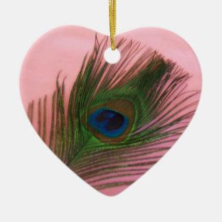 Soft Pink Peacock Still Life Ceramic Ornament