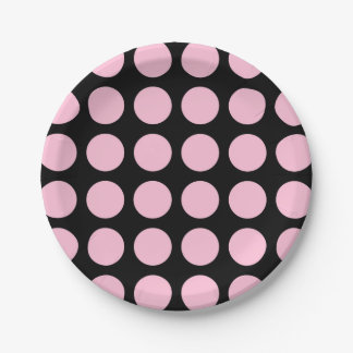 Soft Pink Polka Dots Black 7 Inch Paper Plate