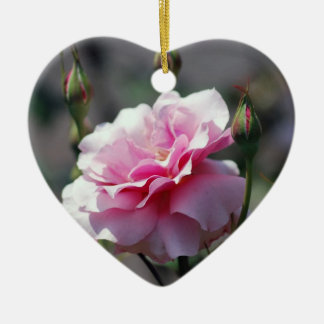 Soft pink rose and buds ceramic heart ornament