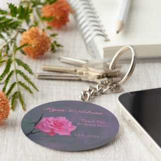 Soft Pink Rose Personalized Wedding Favor Key Ring Keychains