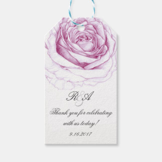 Soft Pink Rose Wedding Bridal Shower Favor Tag