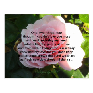 Soft Pink Rose with Romantic Verse Postcard