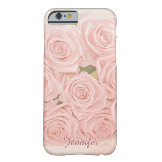 Soft pink roses and custom Name Barely There iPhone 6 Case