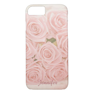 Soft pink roses and custom Name iPhone 7 Case