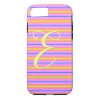 Soft Pink Striped Monogrammed Case-Mate iPhone Case