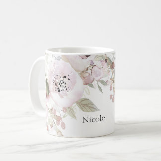 Soft Pink Watercolor Elegant Floral Chic Flowers Coffee Mug
