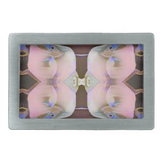 Soft Pink With Brown Periwinkle Accents Belt Buckle