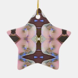 Soft Pink With Brown Periwinkle Accents Ceramic Ornament