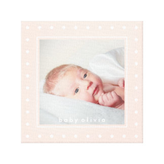 Soft Pink with White Polka Dots | Your Baby Photo Canvas Print