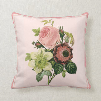 Soft Pinks Vintage Bouquet Throw Pillow