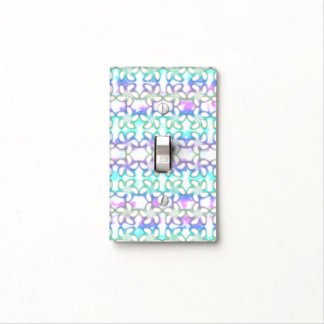 Soft Plumeria Pink Turquoise Purple Watercolor Light Switch Cover