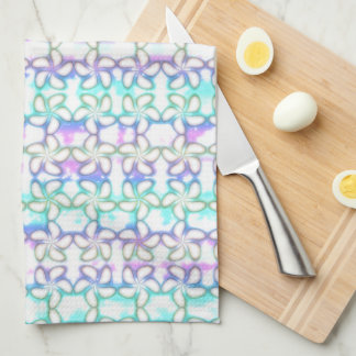 Soft Plumeria Pink Turquoise Purple Watercolor Towels