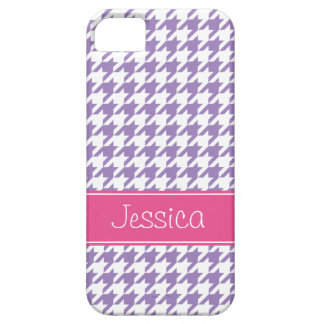 Soft Purple and Pink Houndstooth Personalized iPhone 5 Case