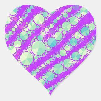 Soft Purple Green Tiger Heart Sticker