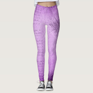 Soft Purple Grunge with Tree Leggings