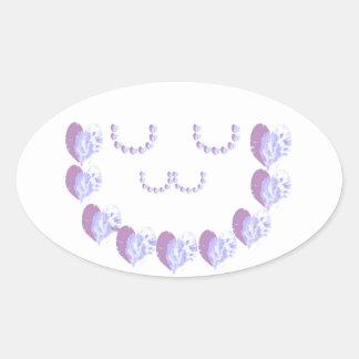 Soft Purple Hearts n Green STARS Oval Sticker