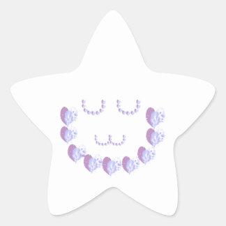 Soft Purple Hearts n Green STARS Star Sticker