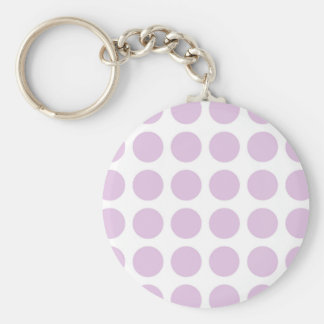 Soft Purple Polka Dots Basic Round Button Keychain