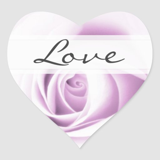 Soft purple rose love wedding envelope seal heart heart stickers