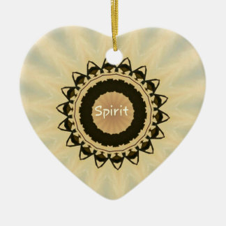 "Soft Radiating Yellow ""Spirit"" Mandela Pattern Ceramic Heart Ornament"